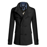 Mens Stylish Gent Slim Fit Double Breasted Overcoat Trench Coat Jacket Outwear A
