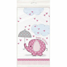 Umbrella Elephant Pink Girl Elephant Baby Shower Table cover Tablecloth Plastic