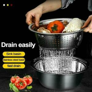 Multifunctional Stainless Steel Basin Chopping Cutter Strainer Bowl Kitchen Tool