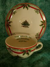 SPODE CHRISTMAS TREE 2009 ANNUAL COLLECTOR~OVER SIZED CUP & SAUCER~SENTIMENT