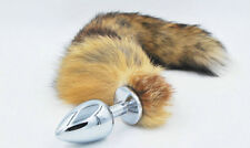 Fox Fur Tail Anal Butt Plug Stainless Steel  Sex Toy Unisex UK