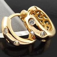 FS928 GENUINE 18K YELLOW G/F GOLD SOLID DIAMOND SIMULATED HUGGIE HOOP EARRINGS