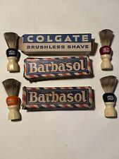 Vtg Barbasol Colgate Shaving Cream Made Rite Shaving Brush Lot Badger Ww 2