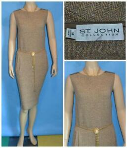 ST JOHN Collection Knits Brown Dress L 12 14 Sleeveless Sheath Suede Trims