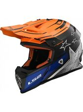 Casco moto integrale LS2 MX-437 FAST CORE lega KPA cross enduro nero arancio-> M