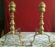 Antique Large Pair Brass Fireplace Andirons Fire Dogs