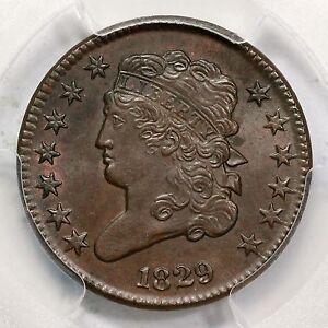 1829 C-1 PCGS MS 64 BN Classic Head Half Cent Coin 1/2c