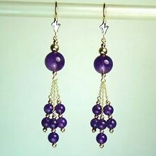 14k solid y/gold round 8 & 4mm natural Amethyst earrings leverback 12.5 tcw