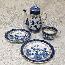 Antique, Rare, Booths, Real Old Willow, England, 5-pc Blue Willow Trio-Tea Set