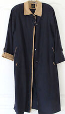 NWOT Luba Navy Tan Multi Ankle-length Front Button Raincoat Women 6 (S-M)