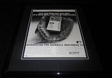 1984 Sony Watchman TV / Baseball Framed 11x14 ORIGINAL Vintage Advertisement