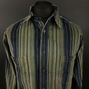 BEYGENT Mens Vintage Cord Shirt Crazy Abstract MEDIUM Long Sleeve Green Cotton