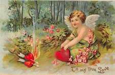 3 Valentine Greetings cupids hearts arrows flowers  antique pc Y13475