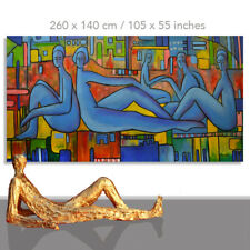 MODERN PAINTING FIGURE # XXL LIFESIZE FIGURES HUMANS PEOPLE MEETING 105 x 55