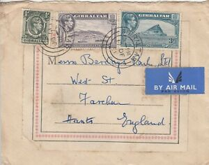 T3988 Gibraltar  17 Dec  1951 cds on air cover UK; 3 KGVI stamps,  5d rate