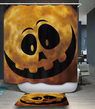 3D Halloween Decor Pumpkin Fabric Bathroom Shower Curtain Waterproof Hooks Gift