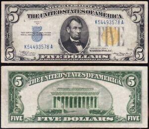 Awesome Crisp HIGH GRADE 1934 A $5 NORTH AFRICA Silver Certificate! K54493578A