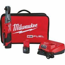 Milwaukee M12 FUEL Cordless Brushless 3/8in Ratchet Kit- 2 Batteries #2557-22