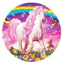 HORSE RAINBOW AND BUTTERFLIES EDIBLE ICING CAKE DECORATION IMAGE PARTY TOPPER