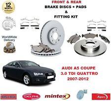 Para Audi A5 Coupe 3.0 TDi Quattro Delantero + Trasero Discos De Freno Almohadillas + kits de montaje