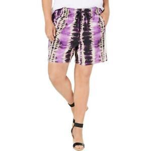 INC International Concepts Women's Plus Size Tie-Dyed Shorts, Purple Multi