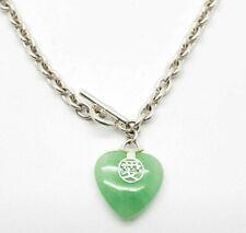 "925 Sterling Silver Jadeite Heart Charm Bracelet 7"""