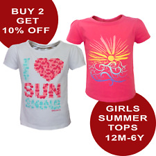 Girls Top T-Shirt Summer Printed White & Hot Pink Sun Surf 12M-6Y