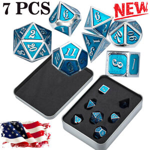 7Pcs/Set Metal Polyhedral Dice DND RPG MTG Role Playing and Tabletop Game W/ Box