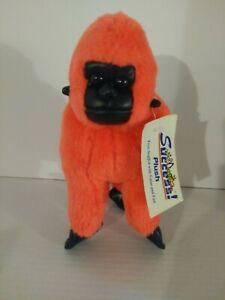 "9""Gorilla Plush Orange/Black Soft Pleather Face/Feet Plastc Eyes Stuffed Doll (F"