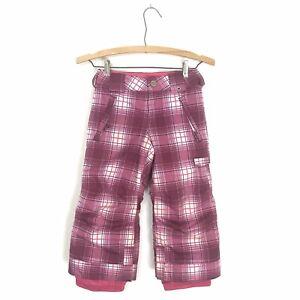 Burton Dryride Kids Girls XS 3/4 Plaid Print Pink Snow Pants Snowboarding Ski B3