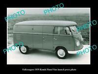 OLD 8x6 HISTORIC PHOTO OF 1959 VOLKSWAGEN KOMBI PANEL VAN LAUNCH PRESS PHOTO