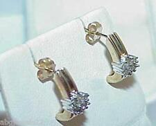 10K .20ct 14 Diamond Cluster Post Stud Earrings Yellow Gold Huggy Design Vintage