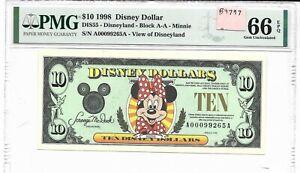 ORIGINAL $10 1998 A  (DISNEY WORLD) DISNEY DOLLAR SLABBED PMG 66 EPQ GEM UNC
