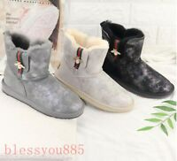 Women's Genuine leather Waterproof Sheep fur Lining Bee Buckle Warm Snow Boots