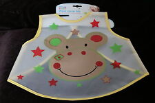 Baby/Toddler Plastic Wipe Clean Bib cover all 4 Designs pink blue animals dinner