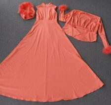 Vintage 70's Peach Hood Hooded 3 Pc Dress Jacket Coral Feathers Set Gown RARE