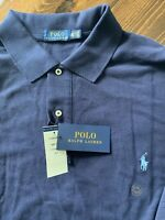 NEW Polo Ralph Lauren Classic Men 2XLT Big Tall Navy Blue Polo Shirt Pony