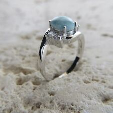 Size 8 3/4, Size R, Size 59, Blue LARIMAR Ring, w/ CZ, 925 STERLING SILVER #0482