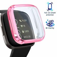 For Fitbit Versa 2 Screen Protector with Soft TPU Rubber Case Bumper Clear/Pink