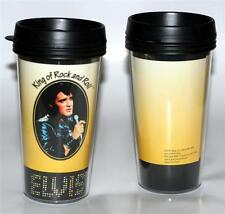 ELVIS PRESLEY King of Rock and Roll Music YELLOW PLASTIC TRAVEL MUG 16 oz New