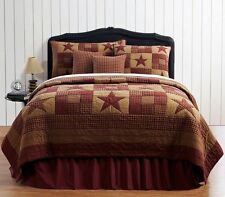 NINEPATCH STAR King Quilt Primitive Country Rustic Red Burgundy/Tan Plaid Check