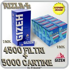 5000 Cartine GIZEH BLU CORTE ORIGINAL 2 BOX 100 pz + 4500 FILTRI RIZLA SLIM 6 mm