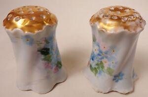 Rosenthal Versailles Gold Top Salt and Pepper Shakers Bavaria Blue Flowers