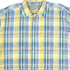 ETRO Plaid Paisley Yellow Aqua Purple Button Down Mens Shirt size 41