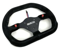 Sparco P310 Steering Wheel 310mm Black Suede Flat Dish with Thumb Horn Buttons