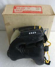 VINTAGE 4025 EVERLAST BOXING HEAD GUARD ORIGINAL BOX BLACK LEATHER