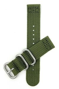Bandini 20mm 22mm 24mm Canvas Nylon Weave Watch Band, Fabric 2 Piece Strap, Hoop