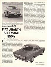 1961 FIAT ABARTH 850/S ~ ORIGINAL 4-PAGE ROAD TEST / ARTICLE / AD
