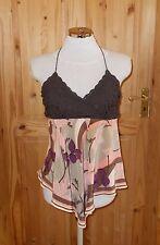 OASIS brown coral purple floral SILK crochet halter neck camisole vest top 12 40