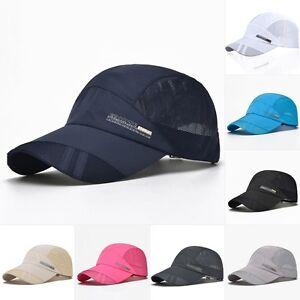 Men Women Outdoor Sport Baseball Mesh Hat Running Visor Flat Quick-drying Cap UK